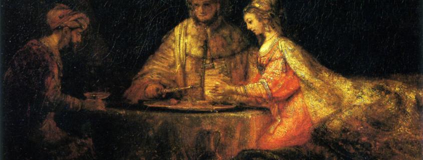 Артаксеркс, Аман и Эсфирь. Rembrandt. 1660. Румянцевский музей