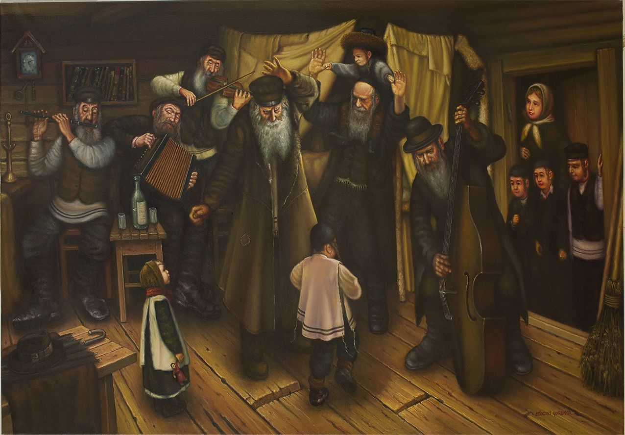 Shtetl Mezhirich. Klezmers. Birthday Grandfather. is a painting by Eduard Gurevich which was uploaded on October 14th, 2013.